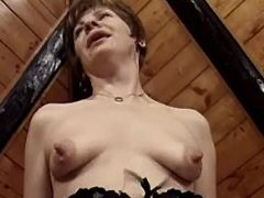 Horny mature jumps on strong cock
