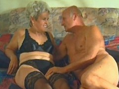 Old grey haired woman does blowjob