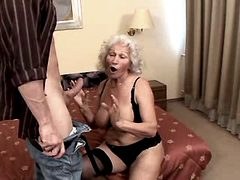 Granny blows and fucks from behind